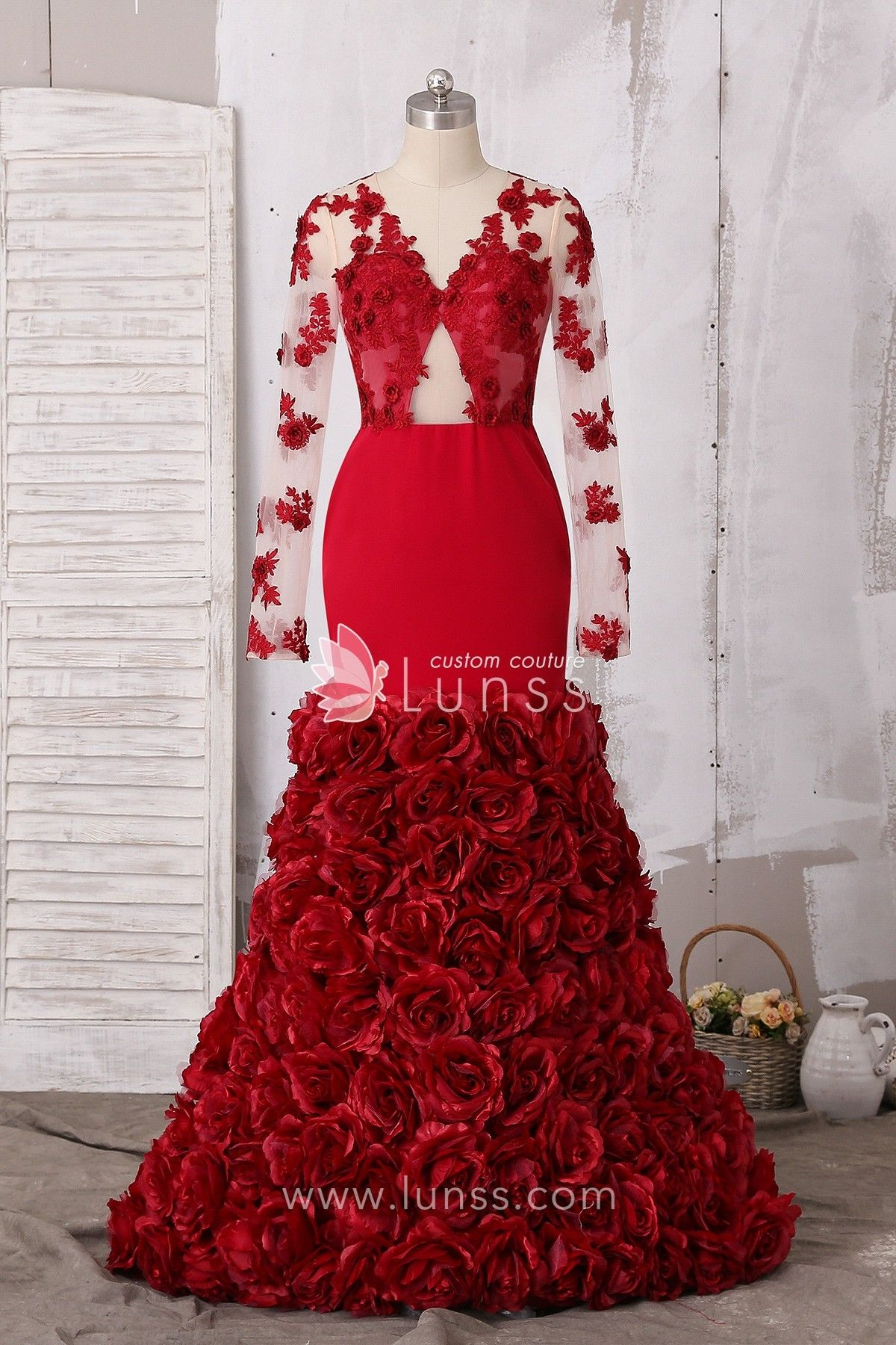 b8cf1c2586a ... sleeve bodice with 3D lace on, sexy cutout at belly and drop open back,  3D rose flowers bespread on mermaid skirt. This is the best prom dress for  black ...