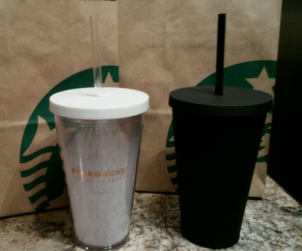 0b2268cd187 Starbucks 2016 MATTE BLACK ACRYLIC Cold Cup 16oz & White Gradient ...