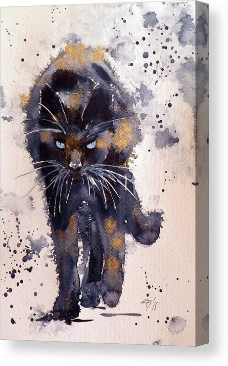 Black Cat In Gold Canvas Print By Kovacs Anna Brigitta All Canvas Prints Are Professionally Printed Assembled And Watercolor Cat Black Cat Art Cat Painting