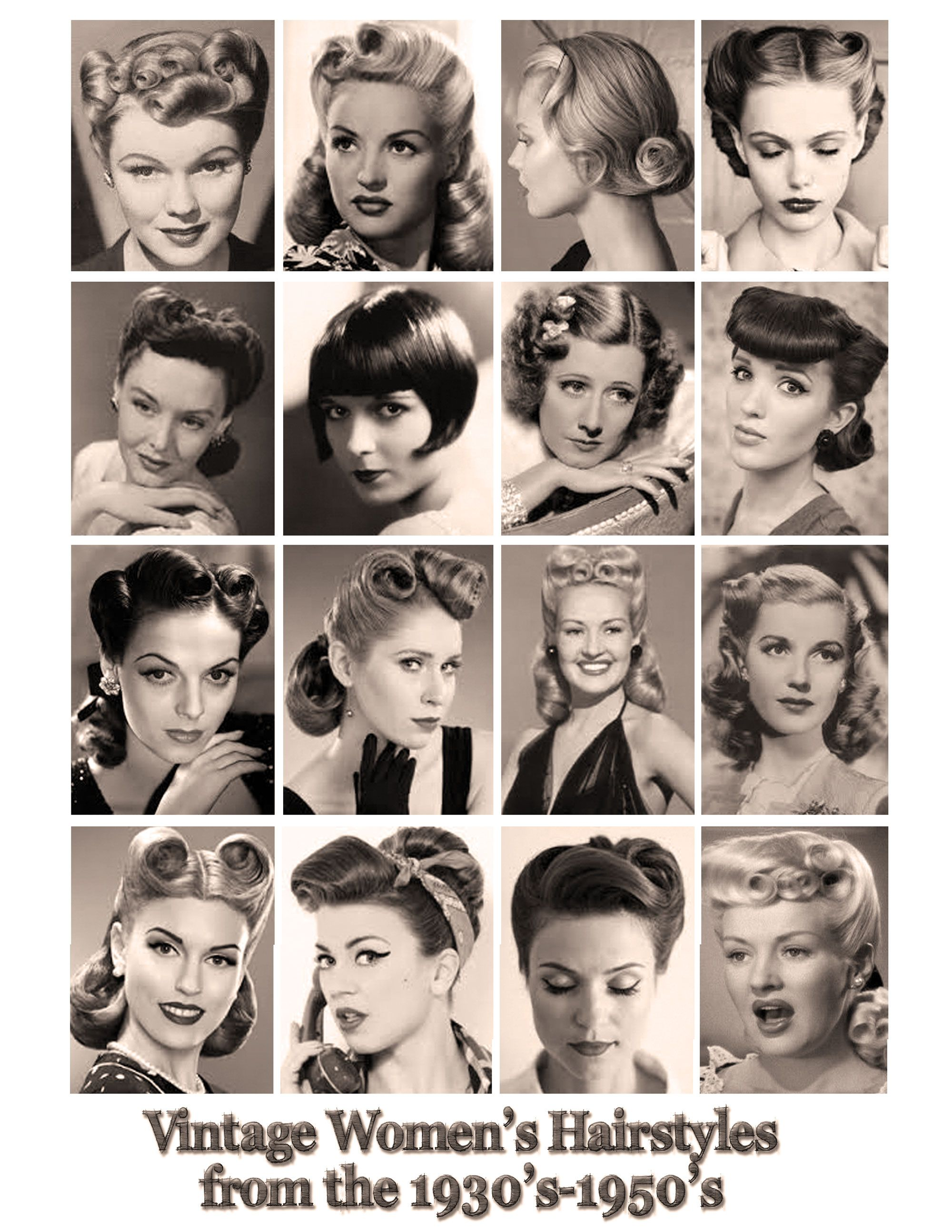 A Good Sampling Of Hair Styles And That Would Make A Great Look For Any Lady Young Or Old In Our Vintage Phot Vintage Hairstyles Hair Styles Retro Hairstyles