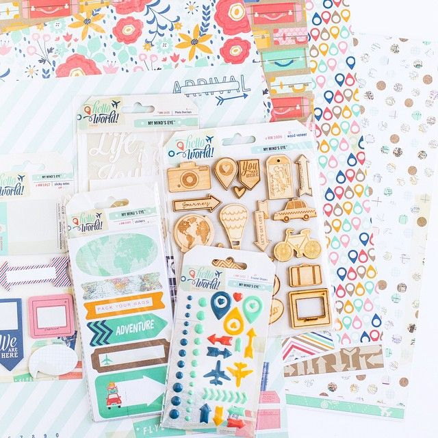 Happy National Scrapbooking Day! In order to celebrate we wanted to host a Instagram give-away! You can win everything you see in this image from our Hello World line! It's a beautiful line and quickly selling out. All you need to do is make sure you are following us here on Instagram, and that you like this photo and @ a friend in the comments you think would want to enter too! We will pick a winner tomorrow! #mymindseye #nationalscrapbookingday2015 #scrapbooking #papercrafts