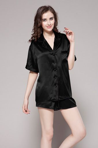 Two-piece set black color 100% high quality and natural ladies silk pajama  set are on sale with big discount.  95  pajamas  silk  lilysilk 4775766a8