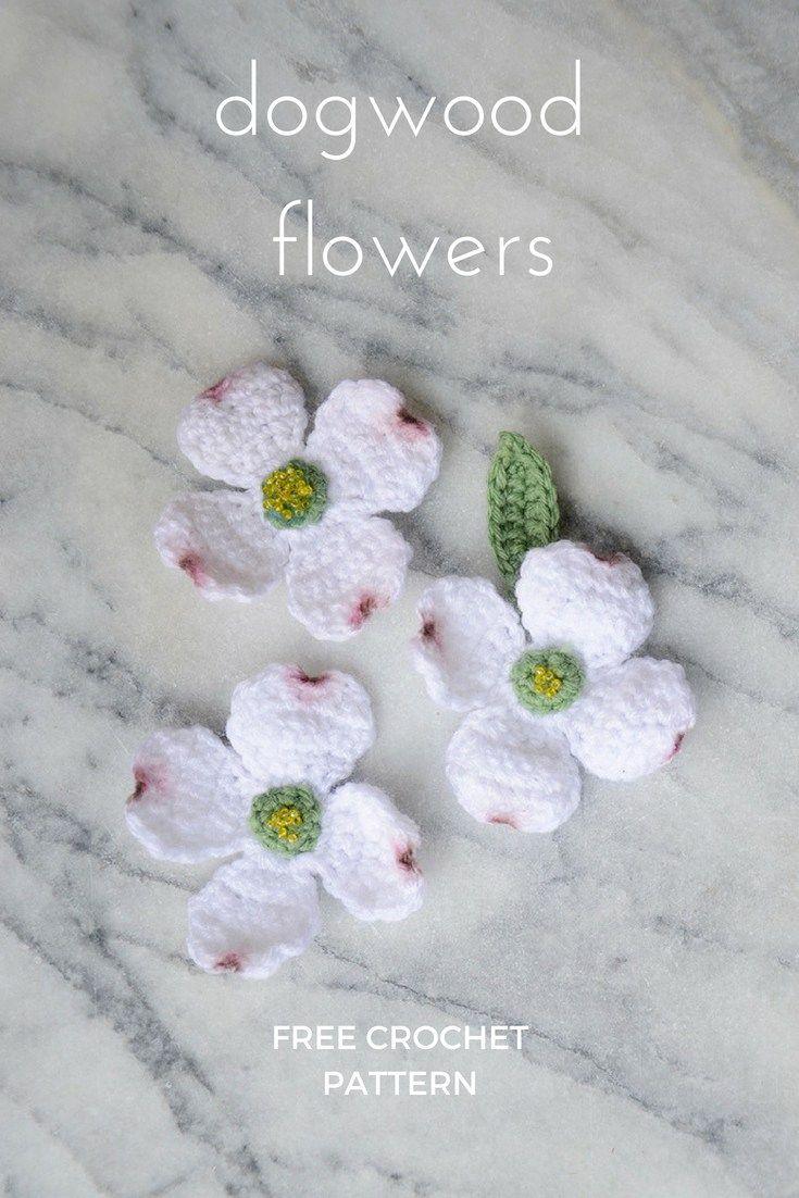 Free crochet dogwood flower pattern - #flower #crochet #free ...