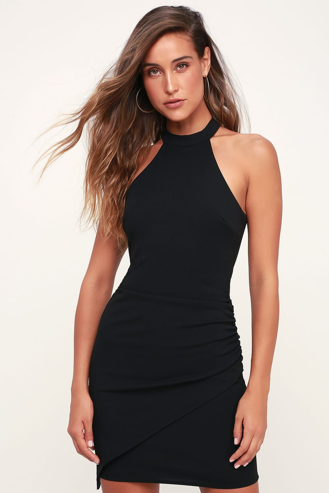 163958d61d28f5 Lulus | You Can't Ruche Love Black Ruched Bodycon Halter Dress ...