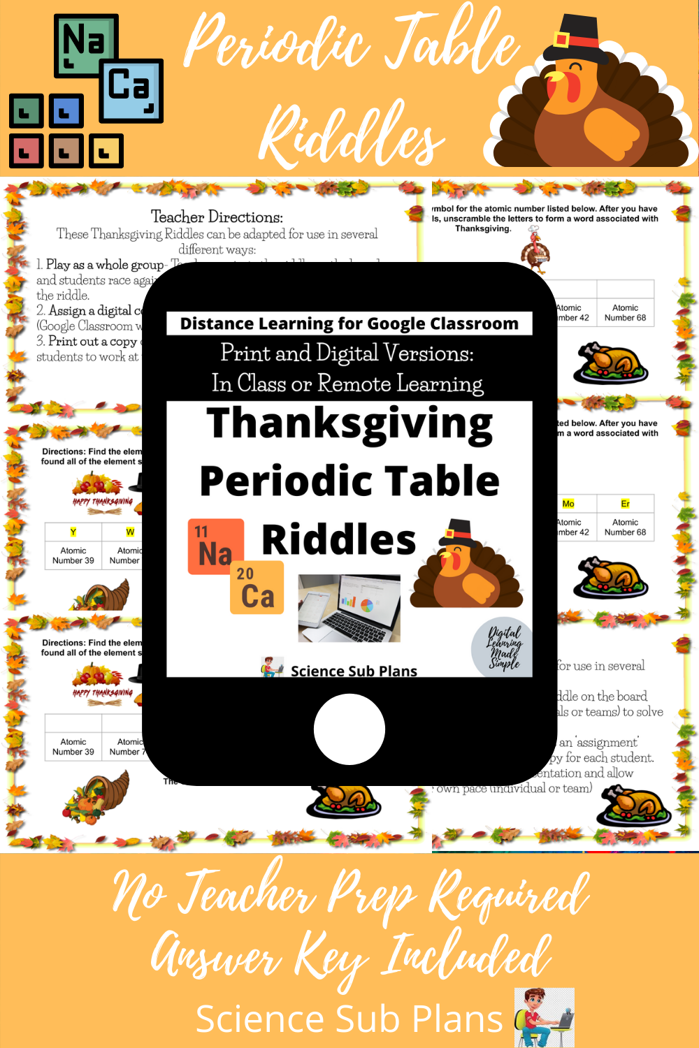 Thanksgiving Periodic Table Riddles Science Lessons Teacher Prep Science Resources