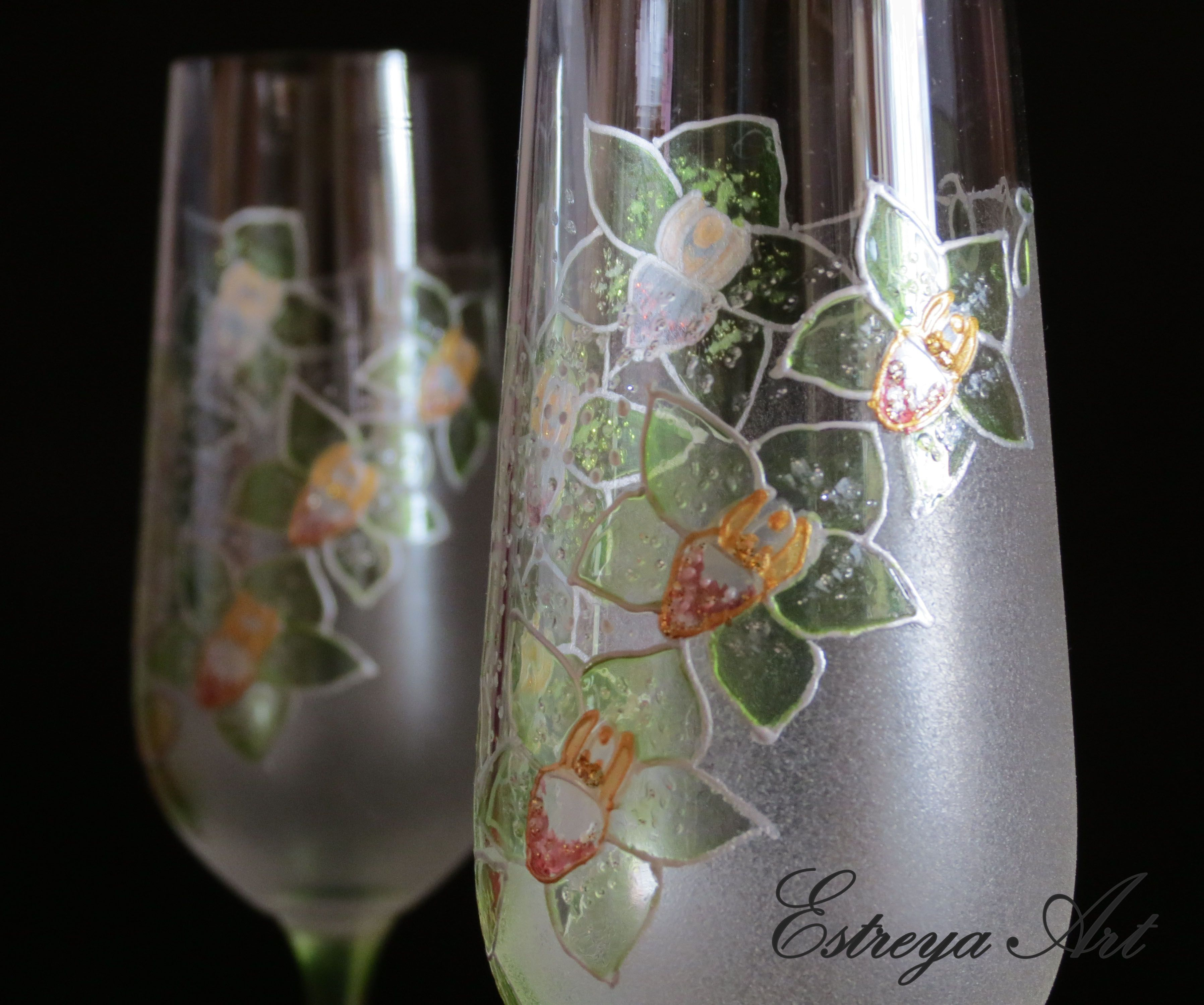 Wedding toasting flutes, champagne glasses, green wedding, green orchid, personalized wedding gift, hand painted, set of 2