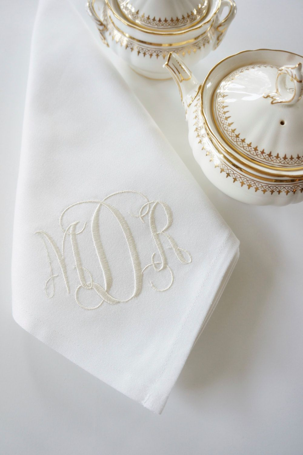 Silver Ornamental Scroll Luncheon Napkins