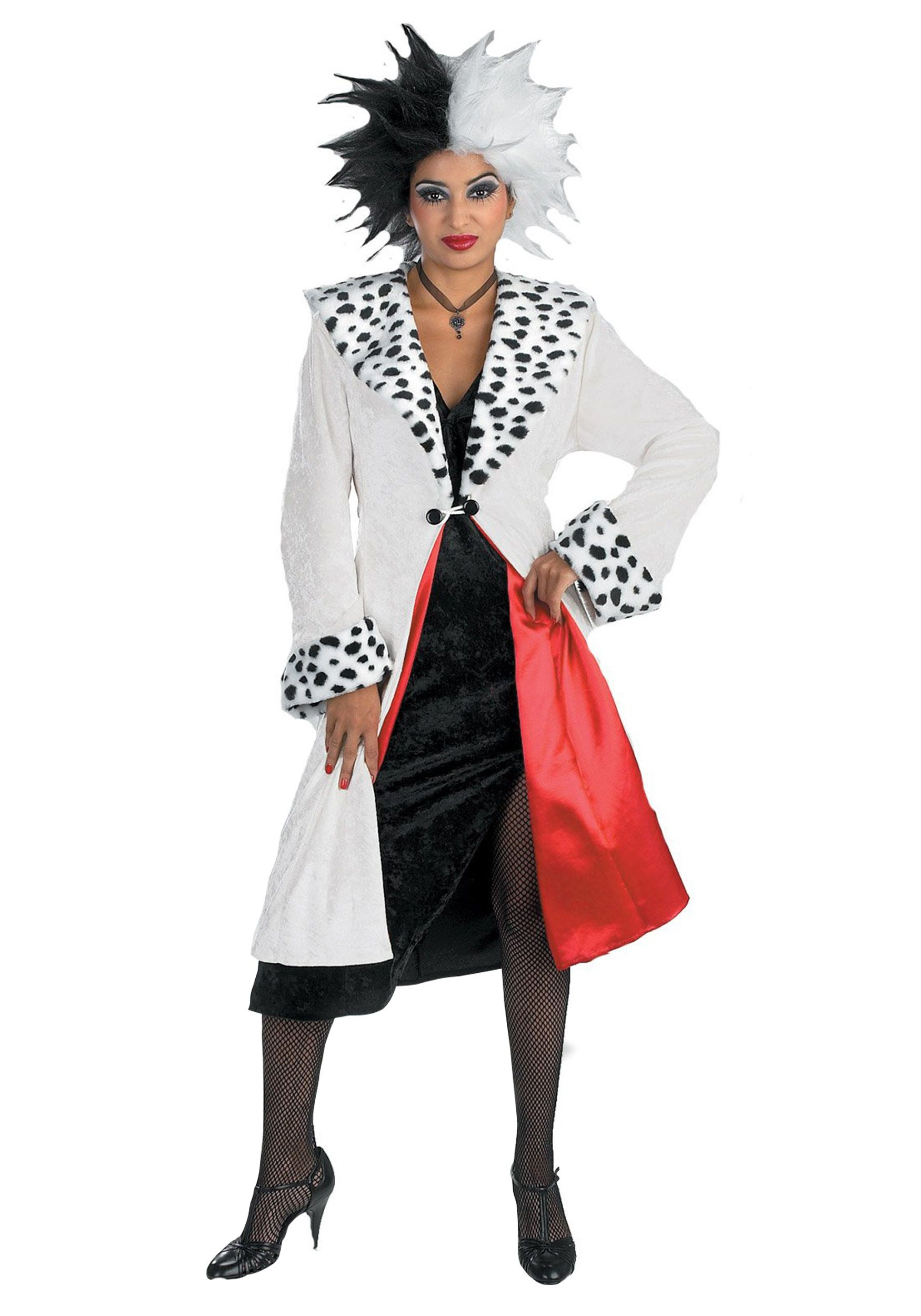 This Cruella De Vil Adult Costume includes a soft velvety