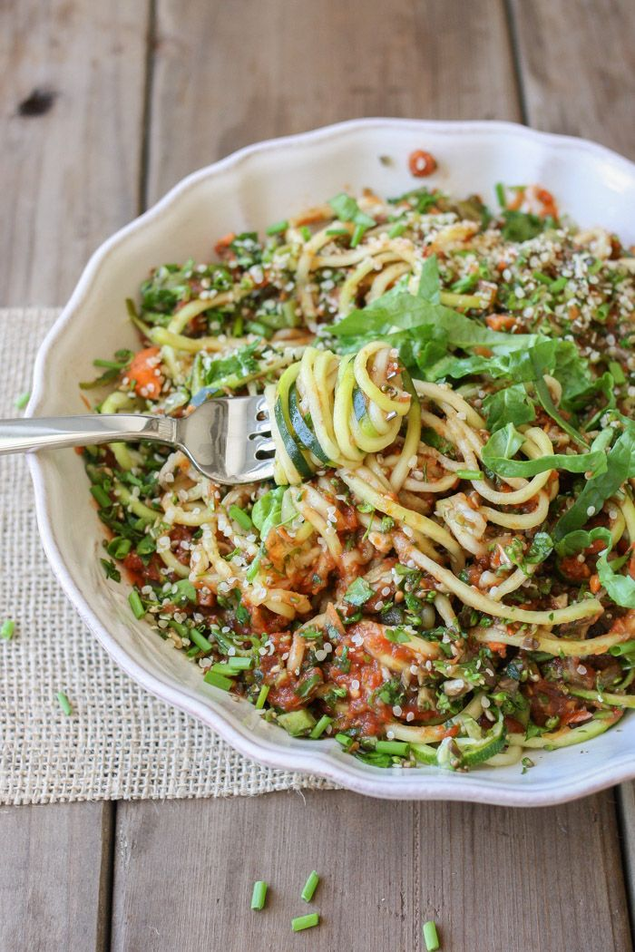 Raw zucchini noodles veggies pinterest zucchini veggies and zucchini noodles and raw veggies topped with delicious raw marinara for a warm summer day fresh flavorful and filling forumfinder Choice Image