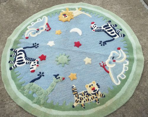 Pottery Barn Kids Animals Rug 5ft Round 100 Wool