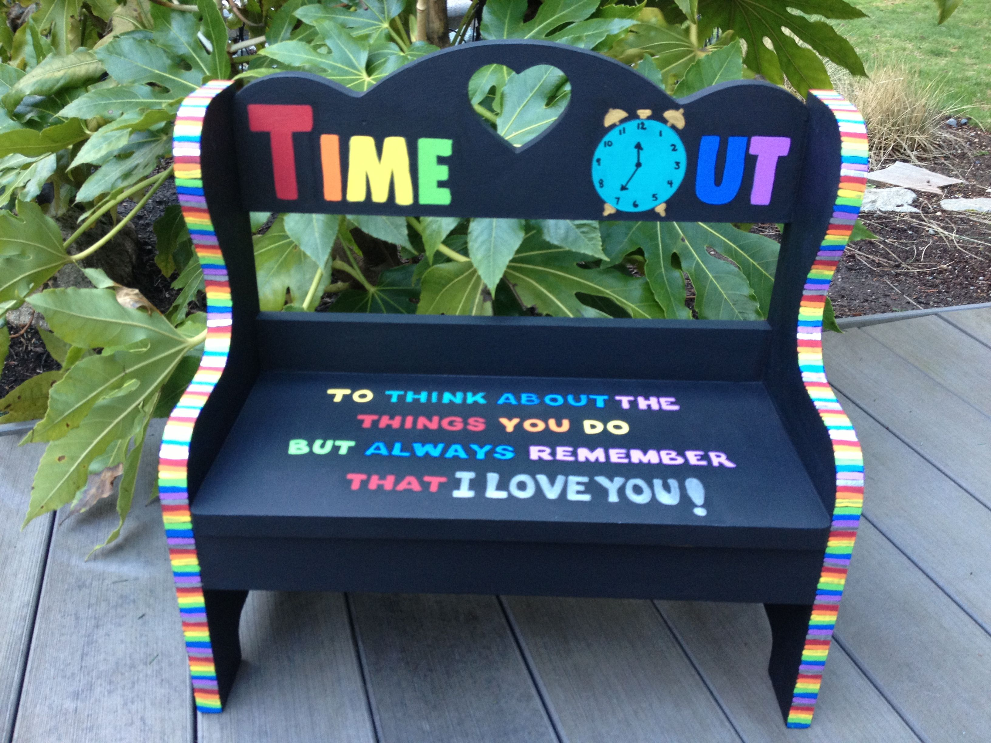 Kids time out bench Colorful and cheerful Painted childrens