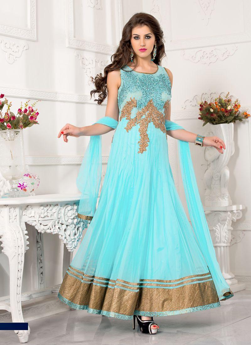 Glamorous Sky Blue Colour Net Designer Ready Made Anarkali Salwar ...