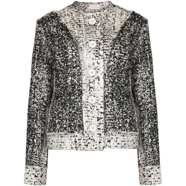 Christopher Kane Reversible frayed bouclé tweed jacket (£1,595) ❤ liked on  Polyvore featuring