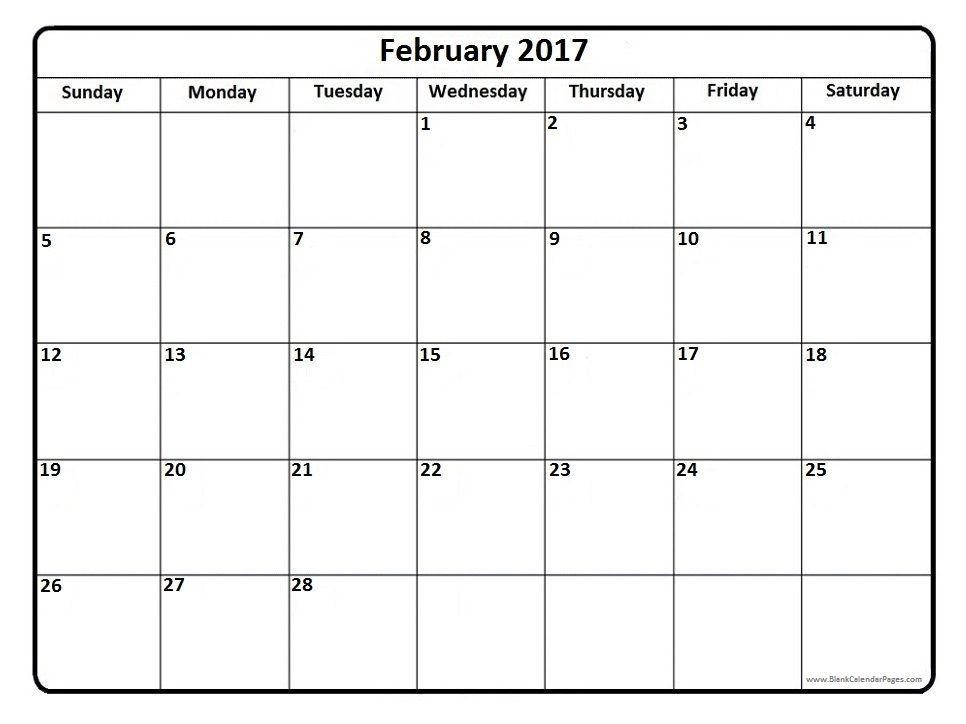February 2017 Calendar February 2017 Calendar Printable