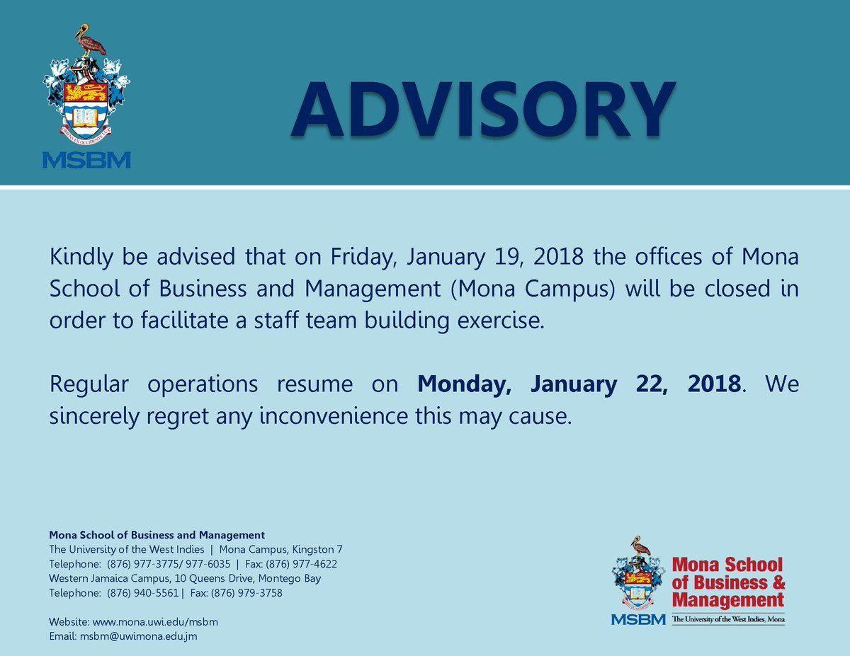 MSBM Advisory ClosureNotice Team building exercises