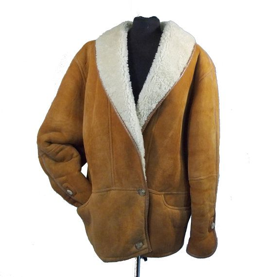 Mens Vintage Genuine Suede Leather 80s jacket Shearling sheep fur BELFE  Short sheepskin coat Warm winter spring jacket US 8 - UK 14  J004 d51d8bb0e
