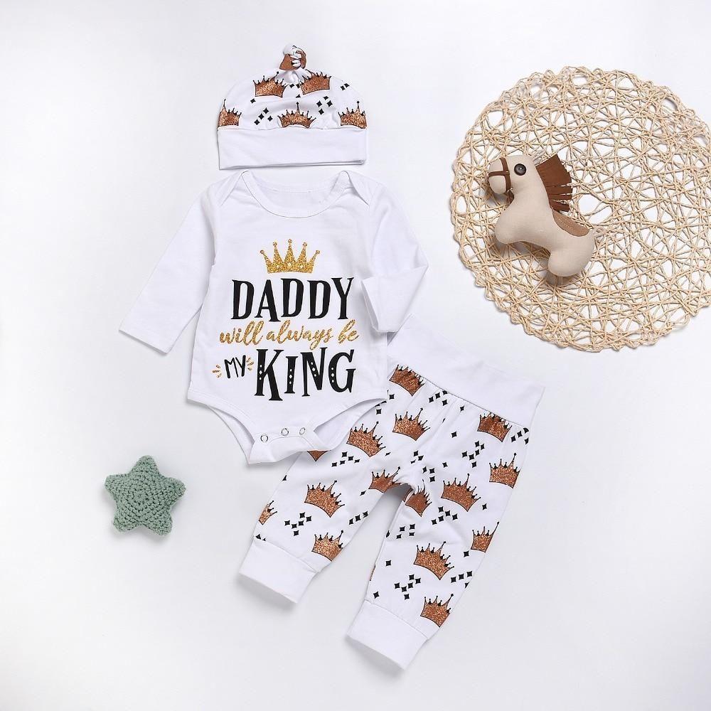 057da4321b4 Baby boys Clothing Set Daddy King printed Tops Cotton romper Crown ...