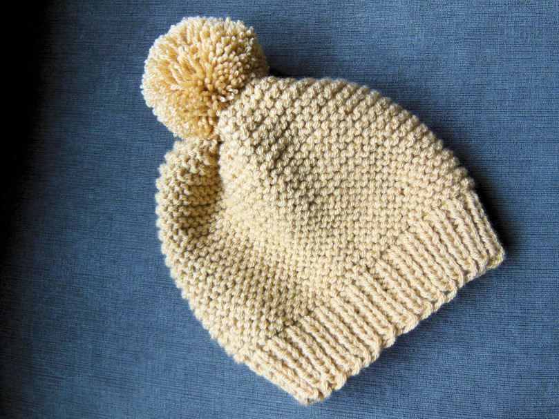 Double Knit Garter stitch hat in Camel | Knit 1 Purl too... | Pinterest