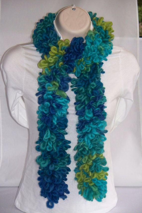 Loopy Scarf Blue /& Green