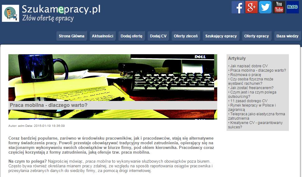 #Praca #mobilna -  http://szukamepracy.pl/baza-wiedzy/wpis/19/praca-mobilna-dlaczego-warto Praca mobilna - dlaczego warto?