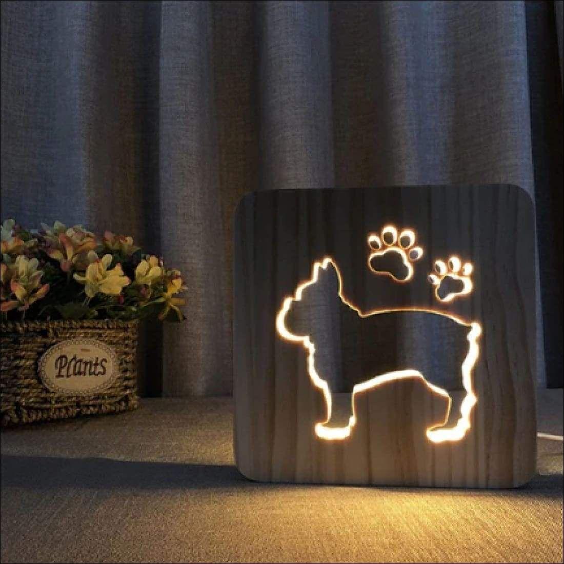Lightwood Dog Lamp King Panda In 2020 Animal Lamp Wooden Lamp Dog Lamp