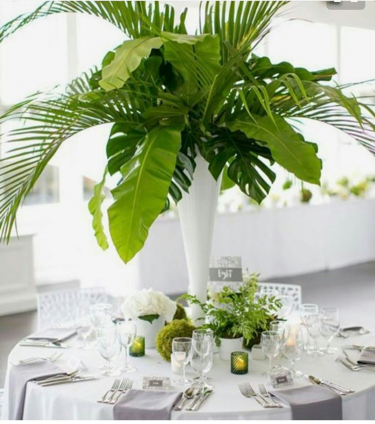 Green White Grey Gray Plants Centerpiece Table Setting