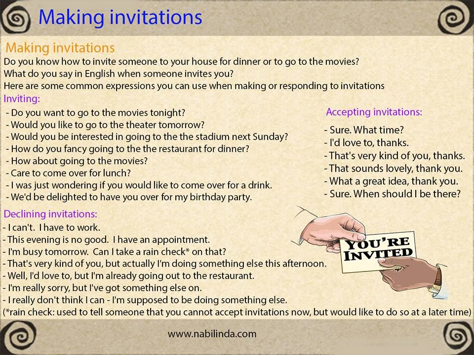 Making Invitations: Inviting - Accepting - Declining English News, English Class, Learn English