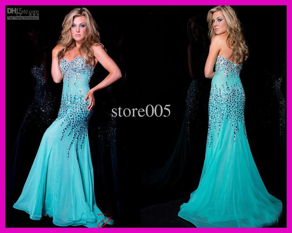 Turquise Strapless Crystals Diamond Chiffon Mermaid Evening Prom ...