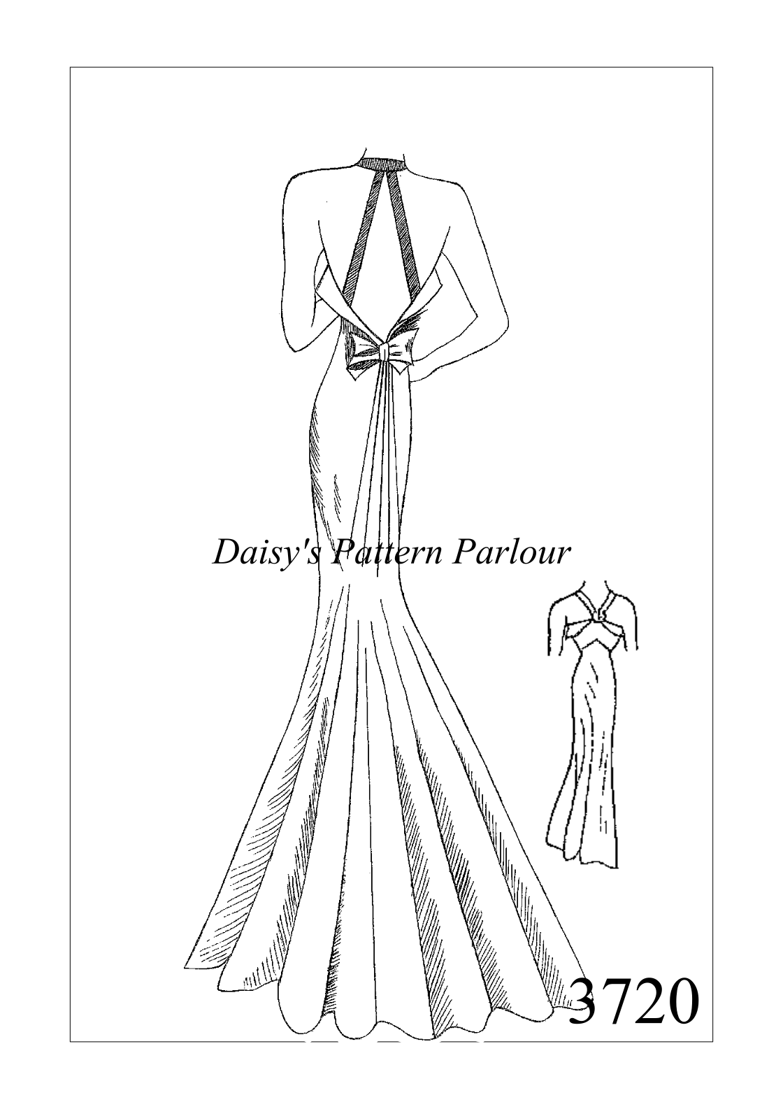 £18.99 Vintage 1930s evening gown sewing pattern. Follow