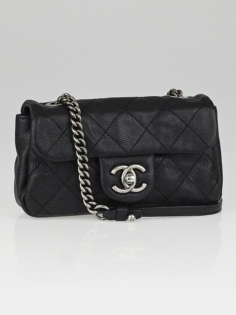 650bfc52620d Chanel Black Quilted Caviar Leather Simply CC Mini Flap Bag | Chanel ...