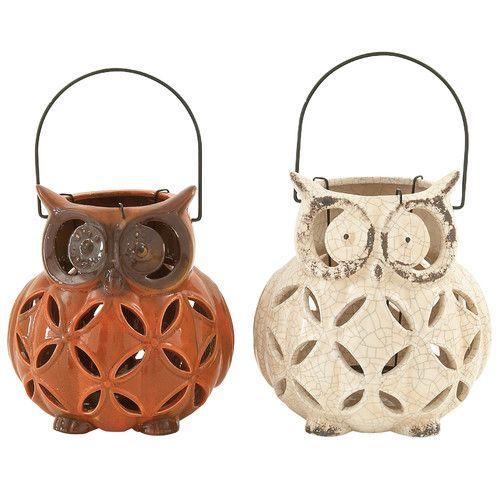 Found it at Wayfair - Cute Owl Ceramic Lantern