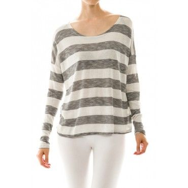 Stripe Long Sleeve High-Low Top #Shirt