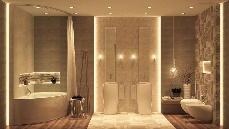 Beautiful indirekte beleuchtung led luxus badezimmer eckbadewanne soulenwaschbecken