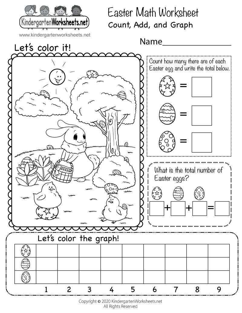 Free Easter Math Worksheet For Kindergarten Count Add And Graph Easter Math Worksheets Easter Math Kindergarten Math Free [ 1035 x 800 Pixel ]