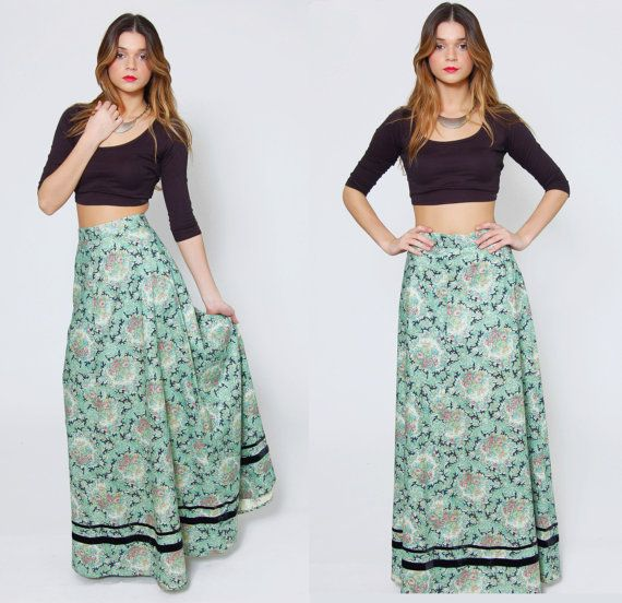 Vintage 70s FLORAL Maxi Skirt Mint Green Boho Chic High Waist ...