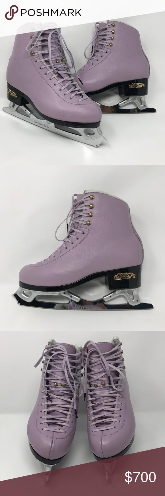 Custom Purple Spteri Ice Figure Skates Lavender Ice Skates Size 6 Wide Black Lacquer Sole With Pattern 99 Revolution John Wilson B Figure Skating Purple Boots