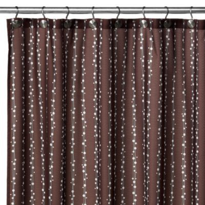 WatershedR Single SolutionTM 2 In 1 Bubbles On A String Fabric Shower Curtain Coffee