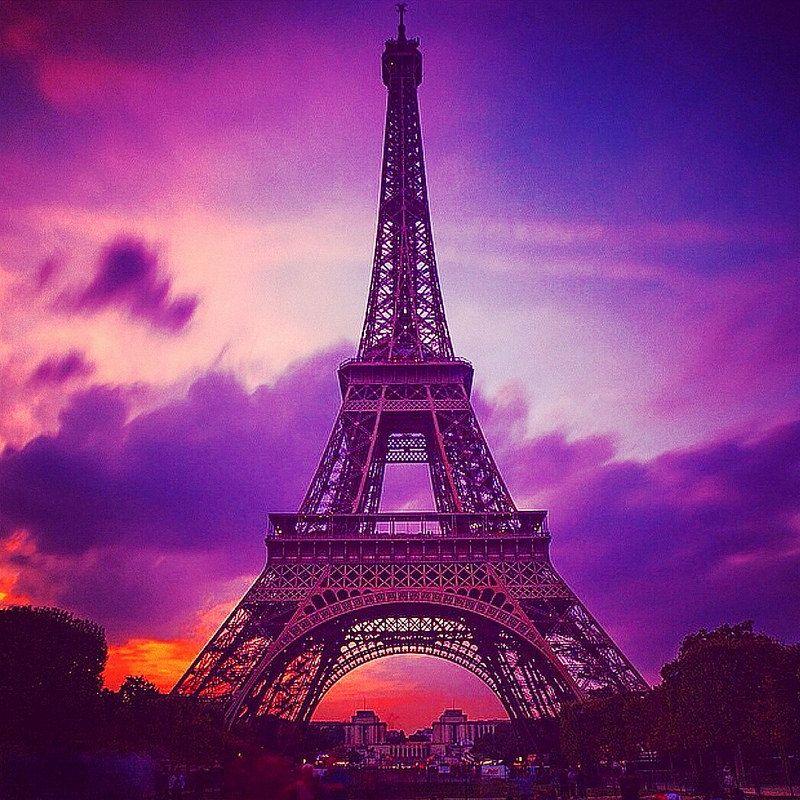 Purple Sky Over Eiffel Tower Purple Sky And France