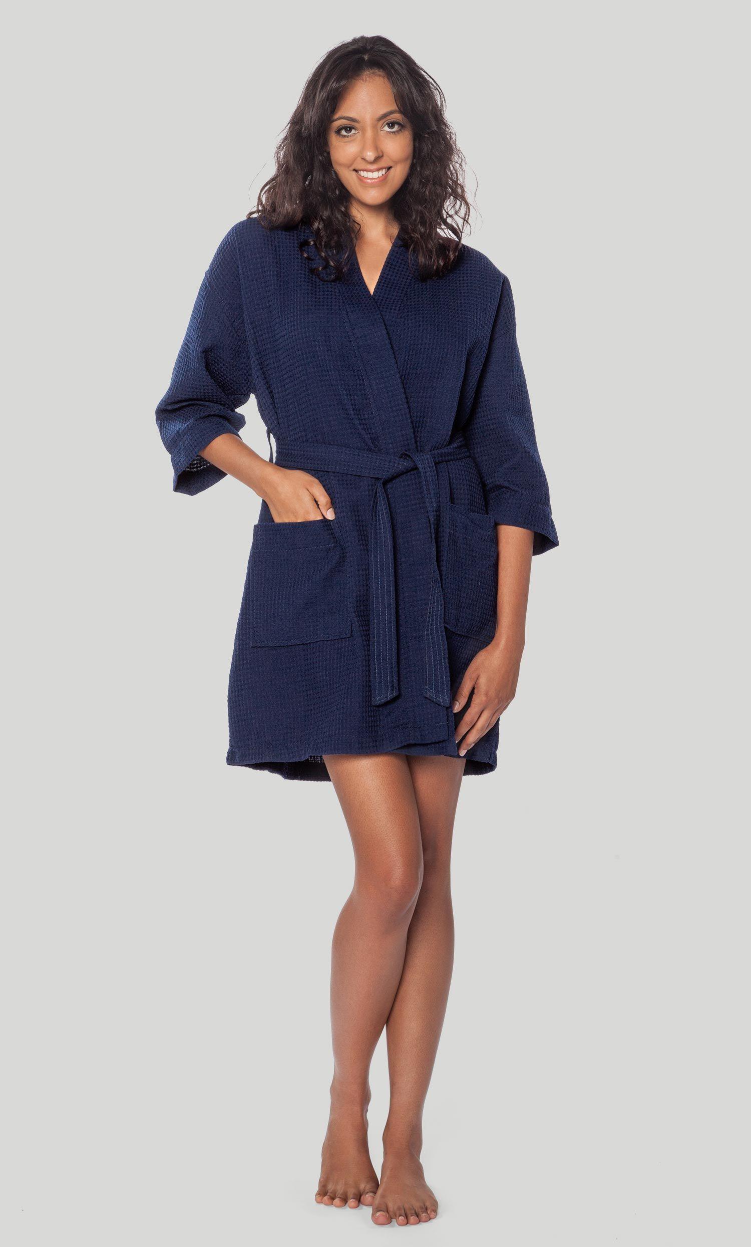 5207c57687 All Bathrobes    Waffle Kimono Navy Blue Short Robe Square Pattern -  Wholesale bathrobes