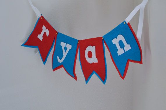 Small Circus Theme Red & Teal Notched Flag  by String Dearie Studio