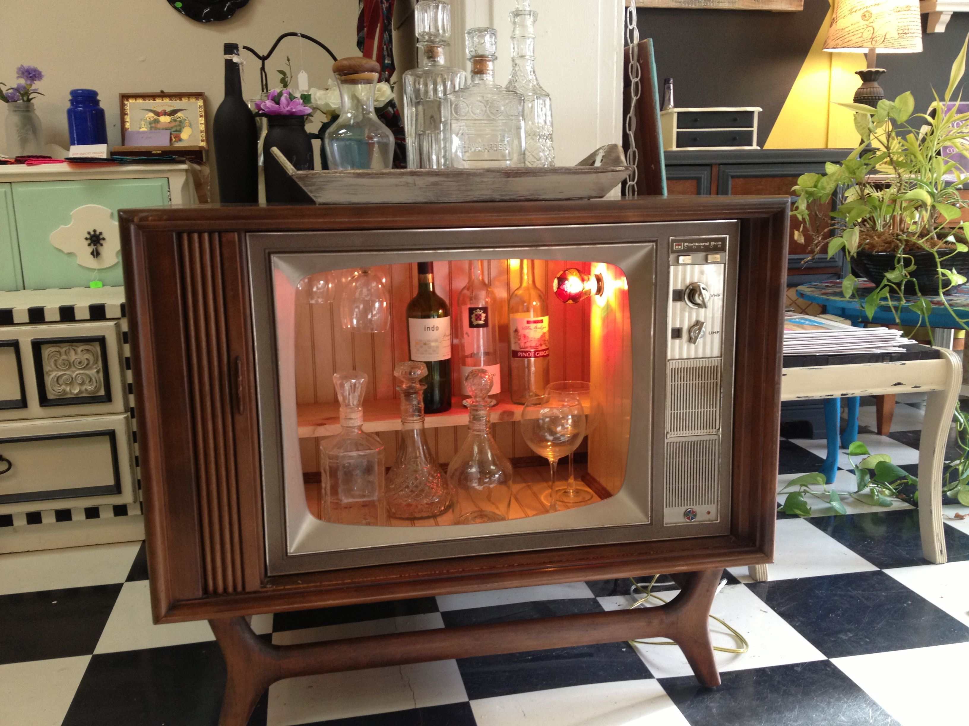 Repurposed Upcycled Television Console Into A Liquor