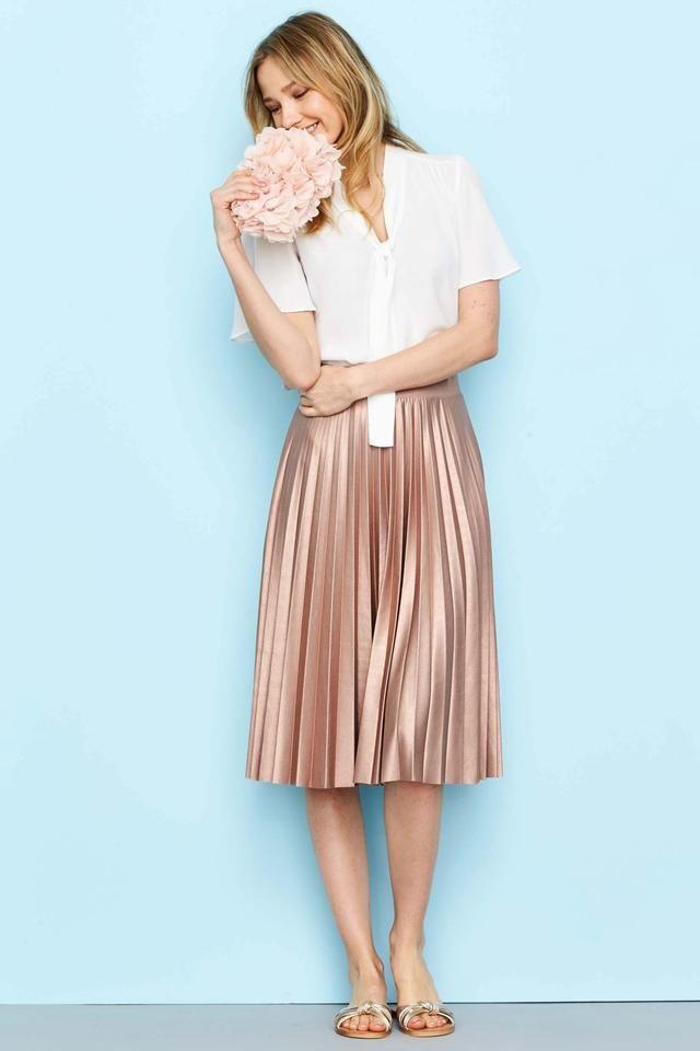 b25007df8 Metallic Skirt Outfit, Pleated Skirt Outfit, Satin Midi Skirt, Metallic  Pleated Skirt,