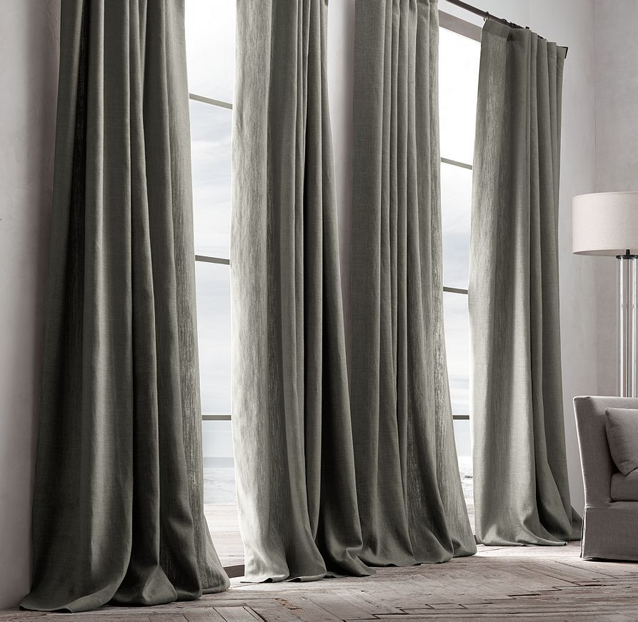 Belgian Textured Linen Drapery Home Black Curtains Drapes Curtains