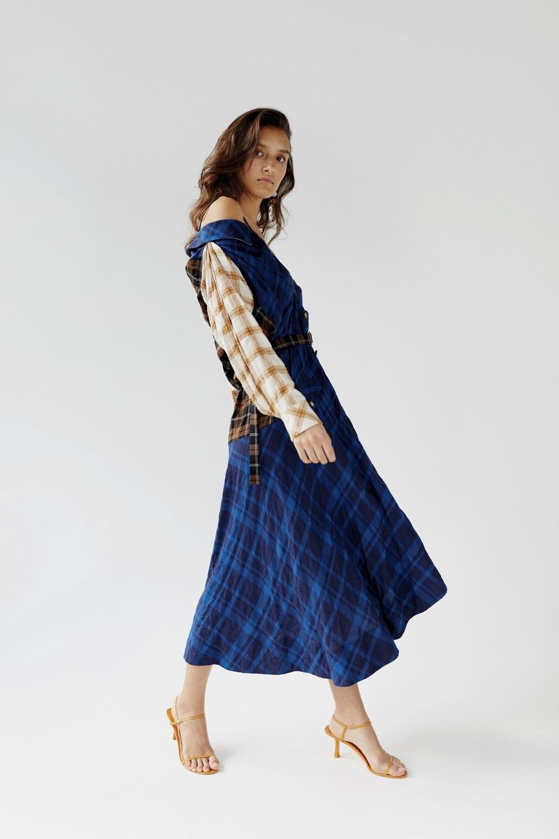 4e4f09dbc Off shoulder plaid dress with contrast print and removable straps.  Material  53% cotton