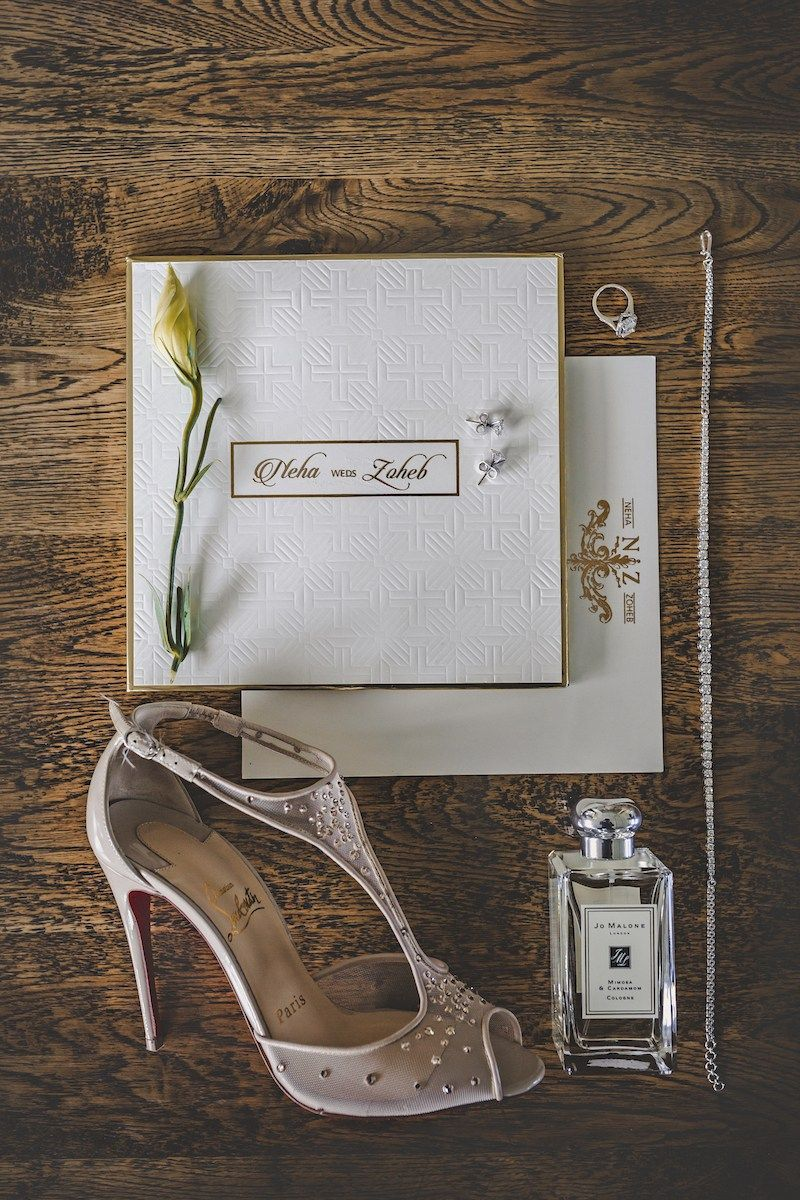 White and Gold Wedding Invitations | Neha + Zoheb | Indian Wedding ...