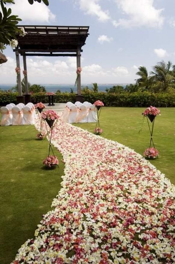 www.weddbook.com everything about wedding ♥   Pink petal wedding aisle decor #weddbook #wedding #pink