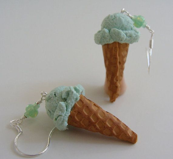 Mint Ice Cream Earrings - Miniature Food Polymer Clay Jewelry