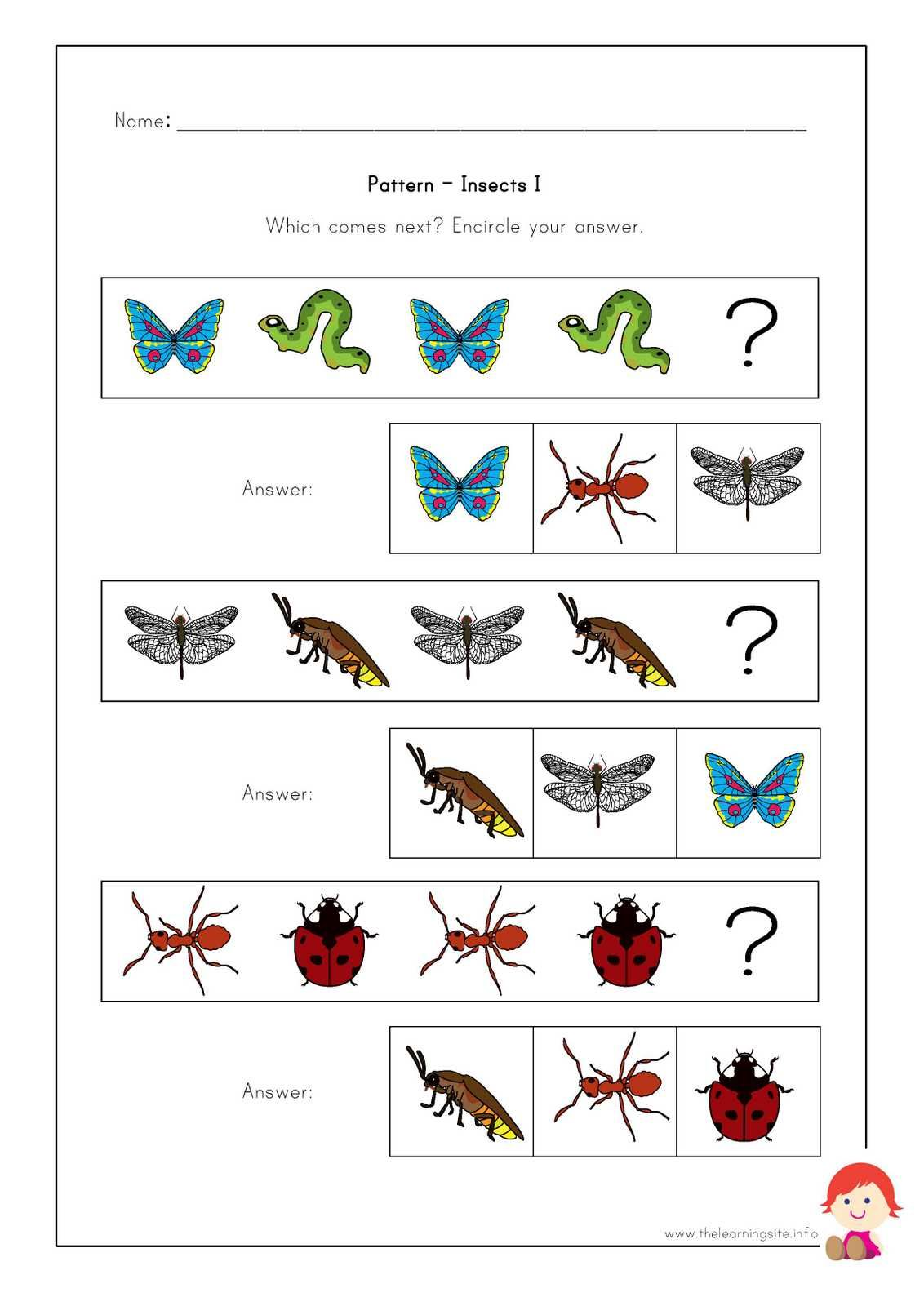 Fly Insect Preschool Worksheet