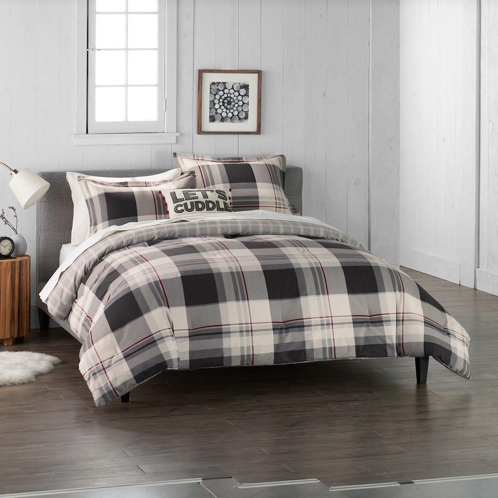 Cuddl Duds Home Gray Lodge Plaid Duvet Cover Set Comforter Sets