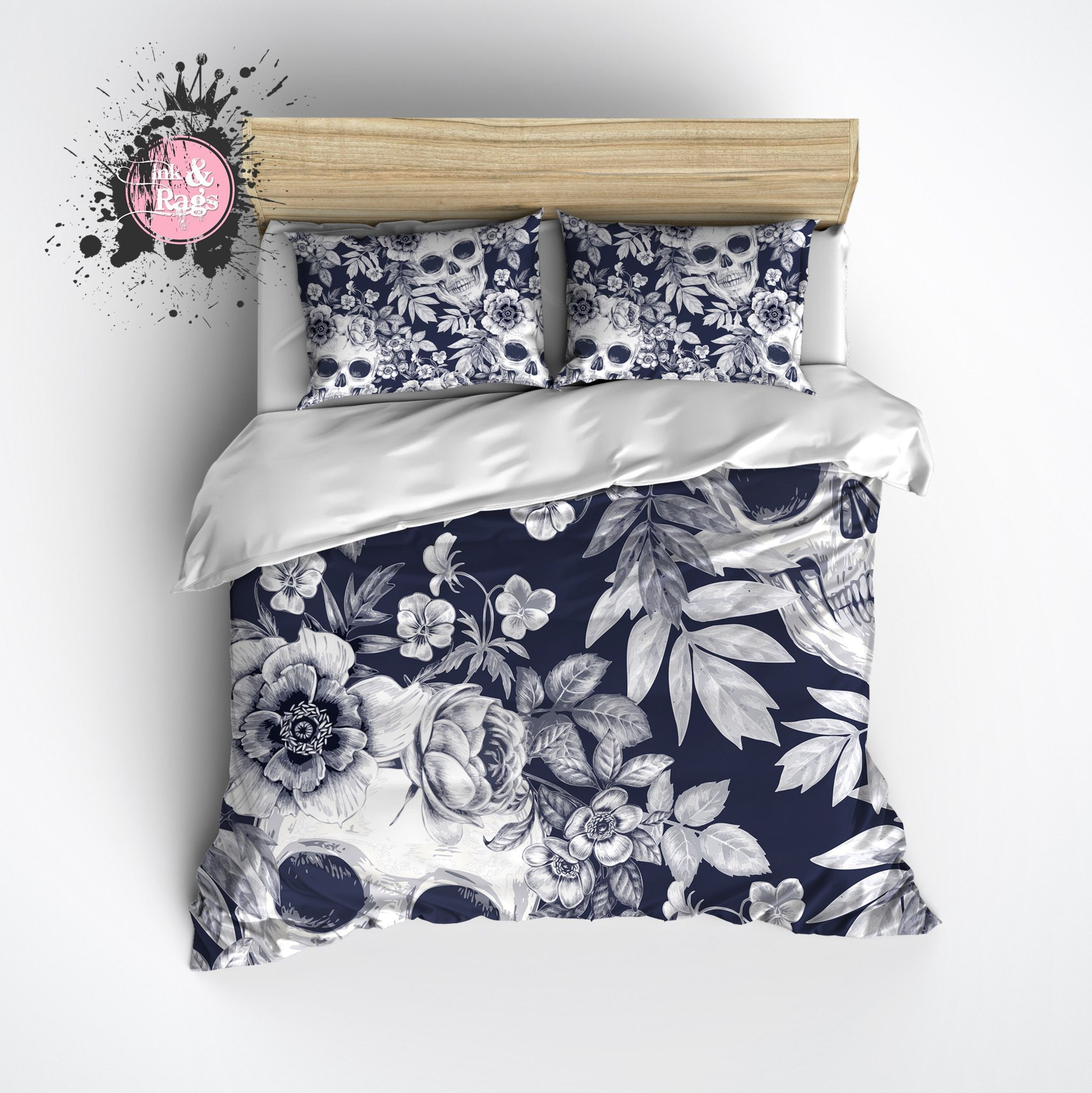 Dark Blueprint Lily Skull Bedding # Muebles El Gitano